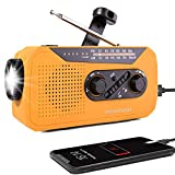 Wind Up Solar Radio, Emergency Hand Crank AM/FM Weather Radio with Bright Flashlight, SOS Alarm, 2000mAh Battery Power Bank, Headphone Jack for Emergency and Outdoor Activities