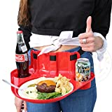 TGT Tailgate Party Plates - Totally Hands Free! Strap Around Your Waist - Food Plate with Cup Holders - Perfect for Football, Sporting Events, Parties, Camping, Picnic, BBQ (Red, 1-Pack)