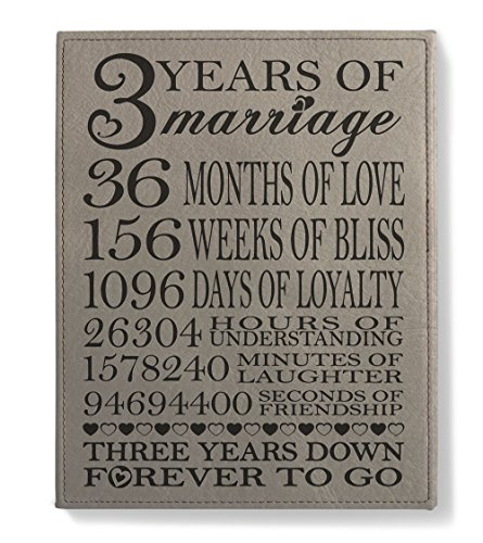 KATE POSH - Our 3rd Wedding Anniversary, 3rd for Couple, 3 Years Anniversary, 3 Years of Marriage, Third for Her, Gifts for Him - Engraved Leather Plaque
