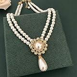 Shangwang - Collar de perlas de imitación de bipie, collar de boda, anillo de cuello