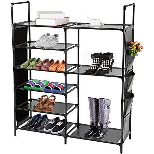 DazHom 6-Tier Shoe Rack, Shoe Storage Organizer Non-Woven Fabric, Stackable Shoe Tower Rack, Portable Closet Boot Organizer Rack, Shoe Racks Space Saving, Metal Durable Shelves Holds 20-25, Black