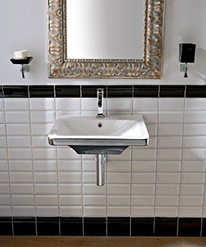 Butterfly Scarabeo Lavabo de salle de bain rétro suspendu/appui blanc/platine 50,5 x 47 cm