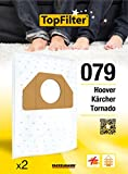 TopFilter 079, 2 sacs aspirateur pour Hoover,Kärcher et Tonardo, boîte de sacs d'aspiration en non-tissé, 2 sacs à poussière...