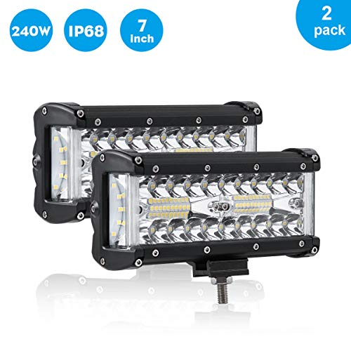 7 Inch LED Light Bar, 240W Side Shooter LED Pods Triple Row LED Work Light Combo Beam IP68 Waterproof Off Road Lights Driving Backup Lights for Pickup Truck Jeep Camper ATV UTV SUV Boat, 2 Pack