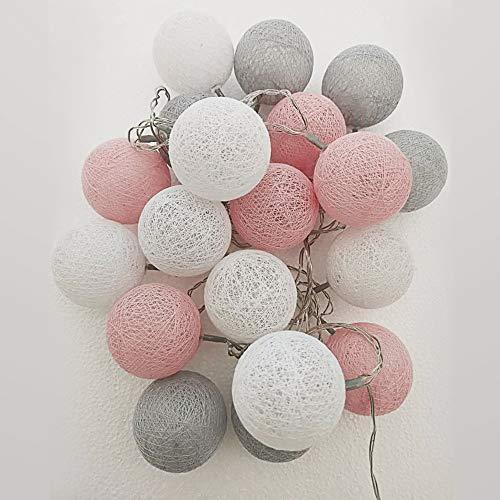 Style home LED Baumwollkugeln Lichterkette Stecker, 3M 20er Cotton Ball Lights Strombetriebene Dekolampe für Innen Mädchen Weihnachten Party Hochzeit Zimmer Home(Warmweiß)