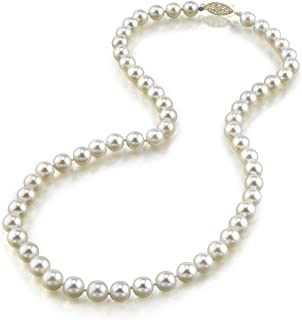 14K Gold Hanadama Quality Round Genuine White Japanese Akoya Saltwater Cultured Pearl Necklace in 16