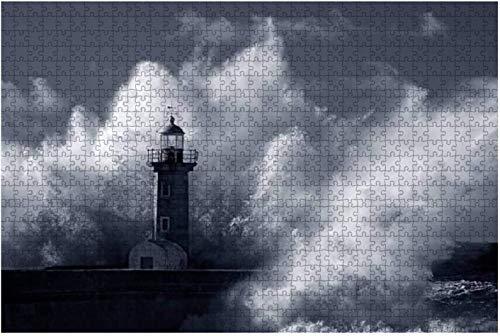 Leuchtturm von Recife Harbour Leuchtturm Wellen und Puzzles für Erwachsene Lernspielzeug für Kinder Kreative Holzpuzzles Home Decor, 500 Stück 52 * 38 cm