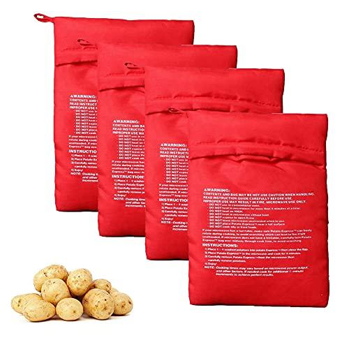Lot de 4 sacs de pommes de terre réutilisables pour micro-ondes - Pommes de terre parfaites en seulement 4 minutes