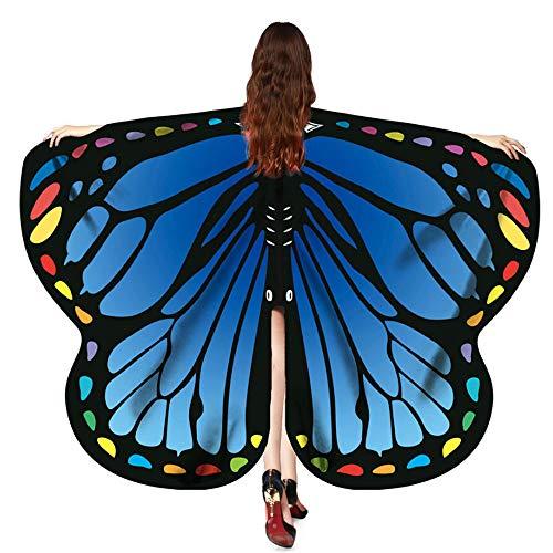 Halloween Cosplay Schmetterling Kostüm, 170X140CM Bohemian Drucken Schmetterling Flügel Umhang Schal Poncho Feenhafte Faschingskostüme Nymphe Pixie Float Parade Kostüm Zubehör