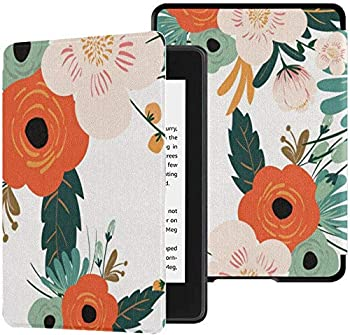 Colorful Star Case for All-New Kindle Paperwhite  10th Generation 2018 Releases  - PU Leather Shell Cover with Auto Wake/Sleep for Amazon Kindle Paperwhite 2018 -Painted Flowers