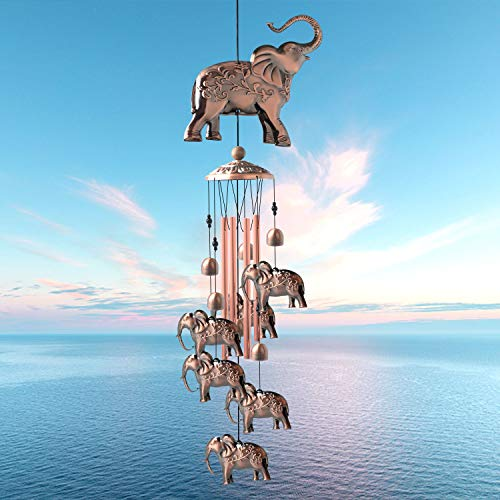 zhengshizuo Elephant Copper Wind Chimes Family Dad Xmas Gift Father Birthday Gift Windchimes Outdoor Garden Gift Mom Birthday Gift Patio Yard Party Decoration Music Wind Chimes Retro