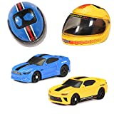 New Bright Mini R/C Mustang GT & Camaro Helmet Racers RC Cars, 2 Pack Set