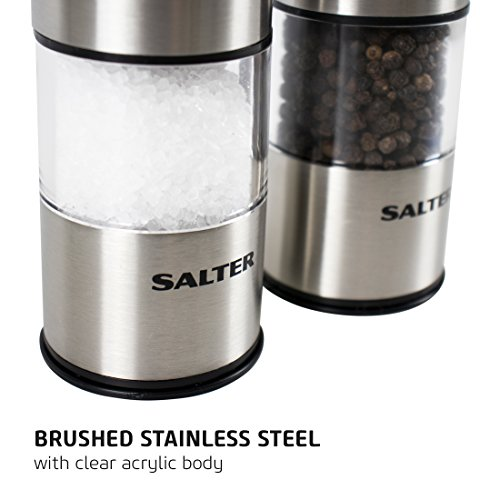 Salter Electric Salt and Pepper Mill Grinder Set – Brushed Stainless Steel Finish, Ceramic Mechanism Great for Himalayan / Rock Salt, Pepper, Dried Herbs, Spices, No Shaker Pots Mess, Eliminate Spill