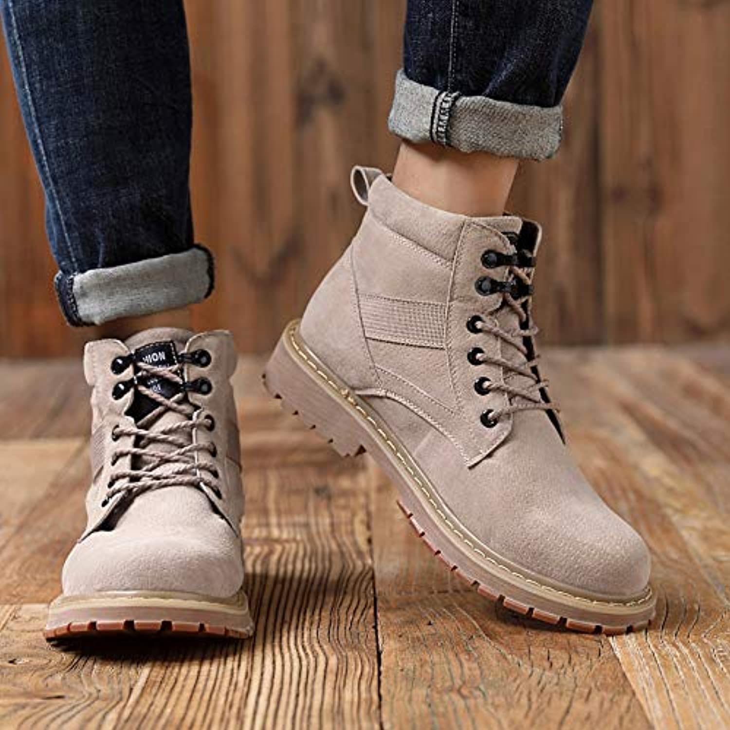 LOVDRAM Boots Men's Martin Boots Men'S Pu Snow Boots Retro Desert Boots Wild High shoes shoes Boots Autumn