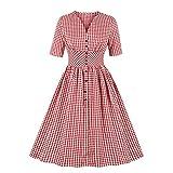 Wellwits Vestido Vintage de los años 50 con Botones de Cintura Alta para Mujer - Rojo - 40/42...