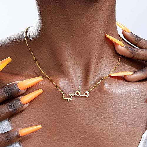 WDam Collar con Nombre árabe para Mujer,Cadena de Oro de Acero Inoxidable Personalizada, Collares islámicos, mamá, Color Dorado, 43 CM