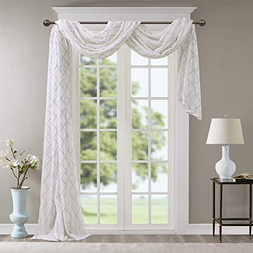 "Grey White Sheer Curtains For Kitchen, Transitional Fabric Sheer Curtain For Living Room, Irina Embroidered Curtain Sheers , 50""W X 216""L, 1-Panel Pack"