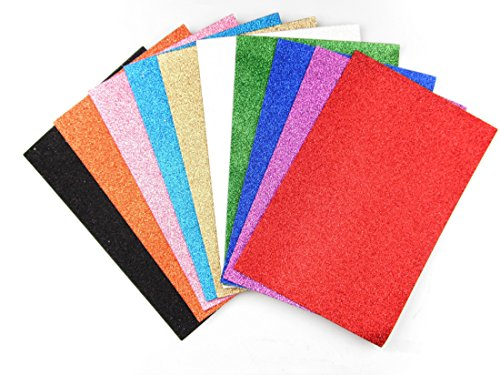"""ALL in ONE 10 Color Glitter Sticky Back Foam Sheets Art Craft Project 21x30cm (8""""x12"""")"""