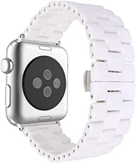 Aottom Compatible for Apple Watch Bands 38mm Ceramic iWatch Series 4 Band 40mm Stainless Steel Smart Watch Replacement Band Butterfly Buckle Women Men for 38mm/40mm Apple Watch Series 4/3/2/1 - White