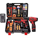 Dedeo 16.8V Cordless Drill Driver Tool Kit, Power Tools Combo Kit 92-Piece Household Tool Kit Set (Multimeter Included)