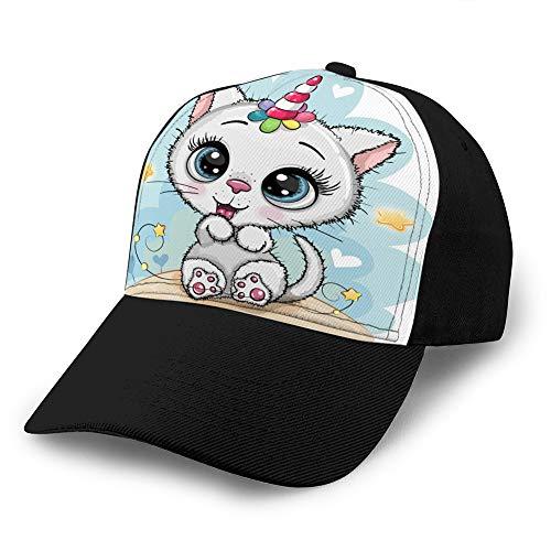 Gorra de béisbol Atlético Ajustable Sombrero de Moda Personalizado para Hombres y Mujeres Gatito Blanco de Dibujos Animados con Cuerno un Sombrero Ajustado xuxuxu