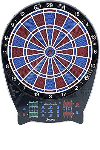 Crivit LED Dartscheibe, mit Zubehör 27 Spiele Dart Set 4 LED-Displays Blau Rot Dartset