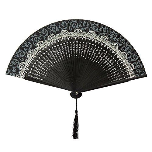 FullBerg - Abanico plegable japonés, estilo vintage, para mujer, hombre, bambú, para decoración de pared, boda, regalo, día de la madre, fiesta, disfraz