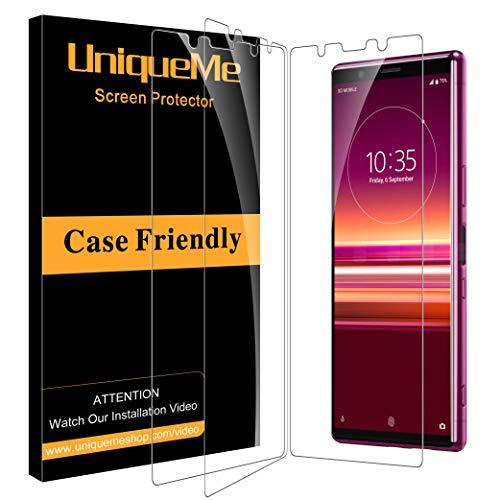 UniqueMe [3 Pezzi Pellicola Protettiva per Sony Xperia 5, Sony Xperia 5 Vetro Temperato 9H Ultra Resistente [Bubble-Free] con Garanzia di Sostituzione a Vita