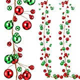 9.8 Feet Christmas Ornament Ball Garland Ball Ornament Xmas Tree Balls Hanging Ball Baubles for Christmas Holiday Wedding Party Decoration (Red, Green)