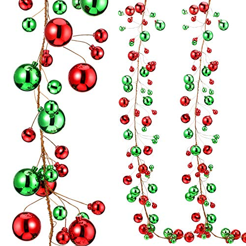 Syhood 9.8 Feet Christmas Ornament Ball Garland Ball Ornament Xmas Tree Balls Hanging Ball Baubles for Christmas Holiday Wedding Party Decoration (Red, Green)