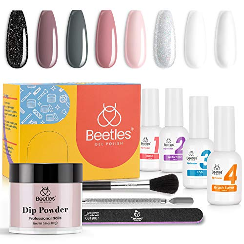 Beetles Dip Powder Nail Kit Starter - Nude Gray Pink 8 Colors Nail Dipping Powder Kit for French Nail, No LED Nail Lamp Needed Manicure Kit Nail Art DIY Home Gifts for Women