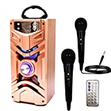IndeCool Bluetooth Karaoke Machine with 2 Microphones, Rechargeable Remote Control Wireless Speaker Portable