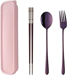 Do Buy Stainless Steel Fork Spoon Chopsticks with a Durable Case for Home Outdoor Camping Traveling Hiking, Purple
