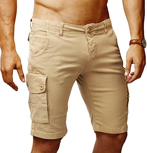 Leif Nelson Herren Cargo Hose Shorts Sommer Kurze Hose Chino Bermuda Stretch Slim Fit LN1345; W34; Camel