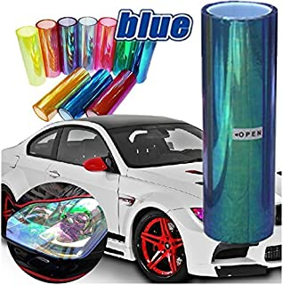 DIYAH 12 X 48 inches Self Adhesive Shiny Chameleon Headlights Tail Lights Fog Lights Films,Film Sheet Sticker,Tint Vinyl Film (Light Blue)
