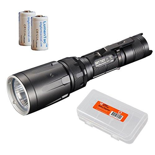 Nitecore SRT7GT Taktische Taschenlampe, 1000 Lumen, mit ultravioletten, weißen, roten, grünen und blauen LEDs, 2 CR123A Batterien und LumenTac-Batterie-Organizer, SRT7 UPGRADE, SRT7GT, schwarz