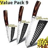 Cuchillo de cocina de 8 pulgadas profesional japonés del cocinero cuchillos 7Cr17 acero inoxidable 440C Tang completa Carne Cleaver máquina de cortar Santoku Conjunto afilado ( Color : Value pack 9 )
