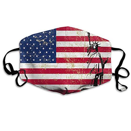 USA Flagge Mundschutz Amerikanische Flagge mit Freiheitsstatue Freiheit Patriotismus Sternstreifen Stoffbezug Unisex Staubdichter Gesichtsschutz Rot Blau Weiß