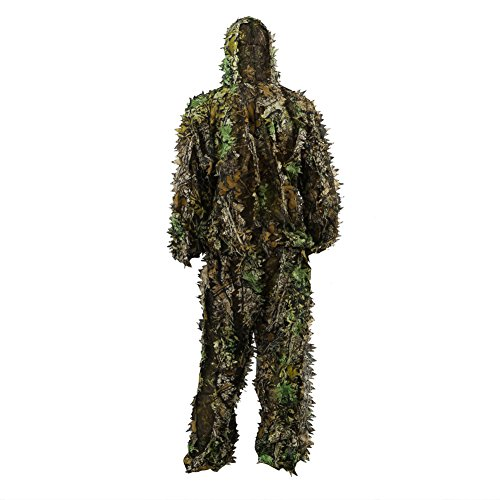 Zicac 3D Leaves Ghillie Camouflage Clothing Tops Pants Jacket Hunting Paintball Airsoft (Leafty Green, for tall 4.9-5.9ft)