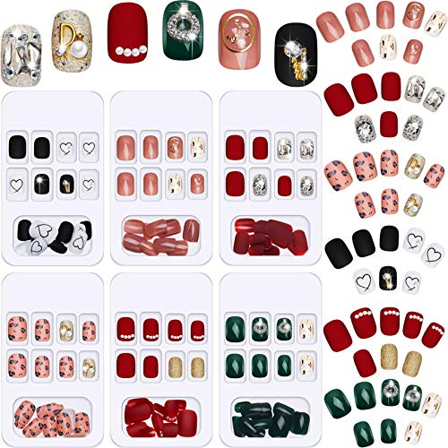 144 Pieces 6 Boxes Short Square Press on Nails Full Cover False Nails with Rhinestone Artificial Nail Tips Glossy Fake Nails for Women Girls Nail Art Salon Decoration (Classic Pattern)