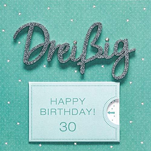 Geburtstagskarte zum 30. Geburtstag Lettering Surprise - Dreißig - 15 x 15 cm