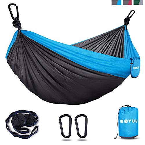 WOVUU Hammock,Camping Hammock Double & Single for Tree, Travel Portable Lightweight Hammock with Tree Straps,Carabiners,Parachute Nylon Hammocks for Camping,Traveling Backpacking,Hiking (Gray&Blue)