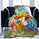 Cartoon Winnie-The-Pooh Blanket Warm Super Soft Flannel Anime Bed Covering for Kids Teens Adults 50x40 inch