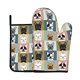 Hitamus Cute French Bulldogs Oven Mitts and Pot Holders Sets, Heat Resistant Kitchen Microwave Gloves Non-Slip Pot Pads for Grilling Baking Cooking BBQ (Set of 2)