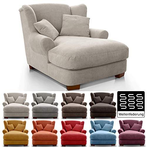 CAVADORE XXL-Sessel Oasis / Großer Polstersessel im modernen Design / Inkl. 2 schöne Zierkissen / 120 x 99 x 145 / Webstoff in crème