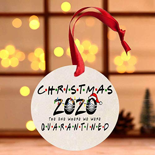 ANLEMIN 2020 Christmas Ornaments Xmas Tree Decorations Wooden Crafts Hanging Ornaments A Year to Remember - Christmas 2020 The ONE Where WE were Q-U-N-R-A-N-T-I-N-E-D