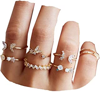 Yheakne Boho Rings Set Gold Rhinestone Knuckle Rings Stacking Crystal Midi Finger Rings Fashion Rings Accessories for Wome...