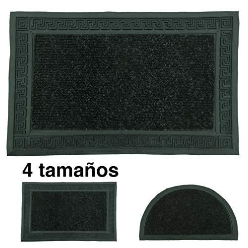 LucaHome - Felpudo Entrada casa Negro 37x52 cm Rectangular de Goma-Moqueta Base Antideslizante, Felpudo, fácil Limpieza,...