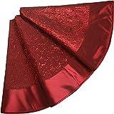 Falda de �rbol de Navidad Lentejuelas Decoración de Fiesta,Wine Red,36inch