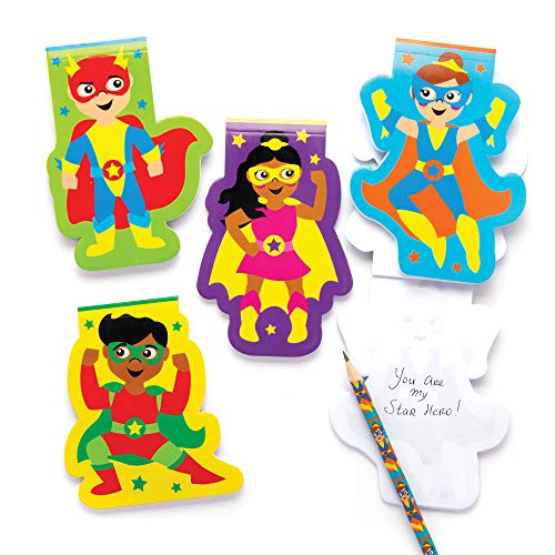 Baker Ross- Libretitas de notas de superhéroes (Pack de 8) -Blocks para niños, cuadernos para escribir perfectos para bolsas sorpresa, regalito de fiesta de Halloween, relleno de piñata